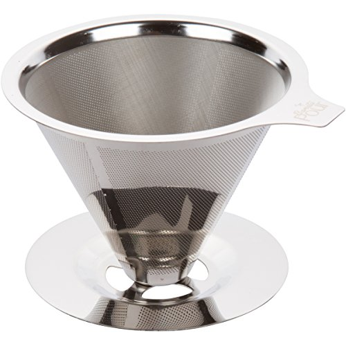 Paperless Pour Over Coffee Dripper - Stainless Steel Reusable Coffee Filter and Single Cup Coffee Maker with Cup Stand (Cappuccino Cups 8 Oz compare prices)