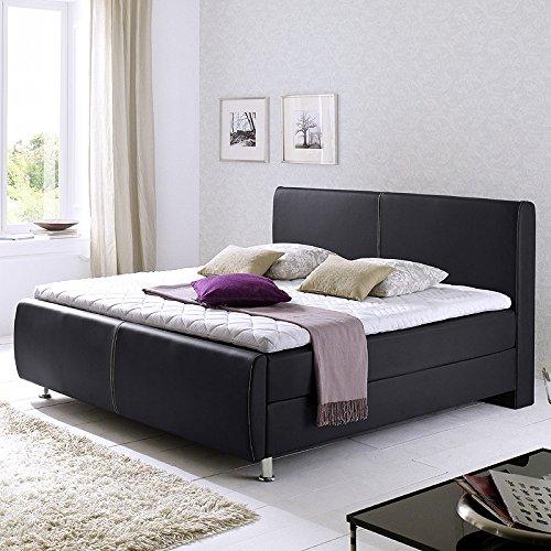 Boxspringbett AMADELLI234 Kunstleder schwarz, Nähte weiß, 140,160 & 180x200cm online kaufen