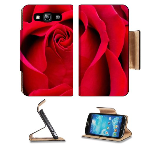 Beautiful Red Rose Petals Samsung Galaxy S3 I9300 Flip Cover Case With Card Holder Customized Made To Order Support Ready Premium Deluxe Pu Leather 5 Inch (132Mm) X 2 11/16 Inch (68Mm) X 9/16 Inch (14Mm) Msd S Iii S 3 Professional Cases Accessories Open C
