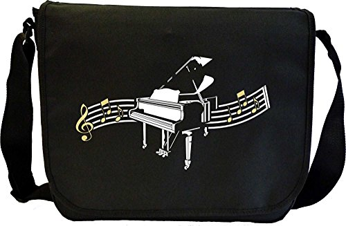 Piano Curved Stave - Sheet Music Document Bag Borsa Spartiti MusicaliTee