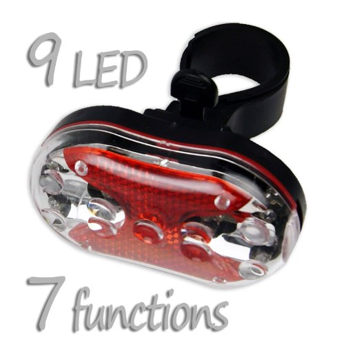 Ultra-Visible 9 LED Bike Taillight Personal Safety Flasher - Visible 2500 Feet