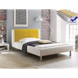 Polsterbett Falo 180x200 cremeweiß gelb + Lattenrost + Matratze Designerbett Doppelbett Kunstlederbett