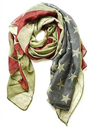Vintage American Flag USA Flag Scarf Unisex Patriotic July 4th Scarf Army Green