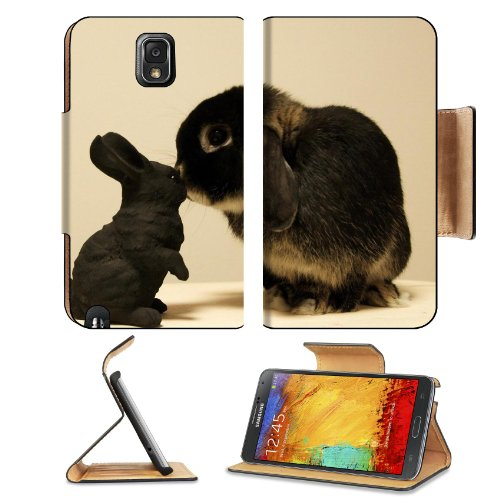 Rabbit White Black Brindle Baby Animal Samsung Galaxy Note 3 N9000 Flip Case Stand Magnetic Cover Open Ports Customized Made To Order Support Ready Premium Deluxe Pu Leather 5 15/16 Inch (150Mm) X 3 1/2 Inch (89Mm) X 9/16 Inch (14Mm) Liil Note Cover Profe front-349403