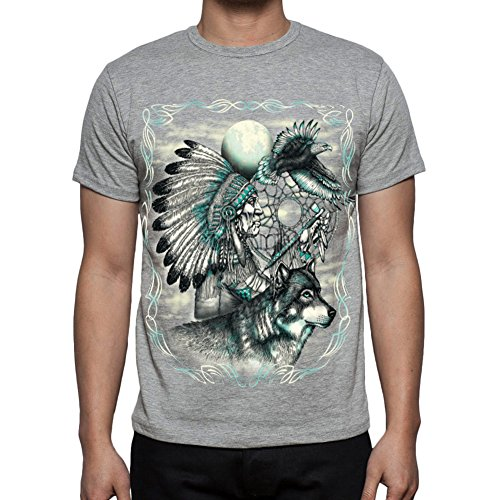 Native American Chief With Wolf And Eagle Crew Neck T-Shirt, 100% Cotton, Preshrunk Heather-Gray Large