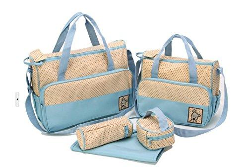 LATH.PIN 5teiliges Bär Baby Wickeltaschen Messenger Bag Umhängetasche Mama Handtasche