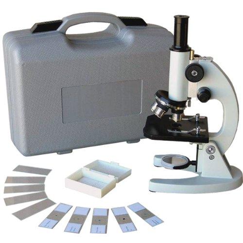 Amscope M60A-Tk 40X-640X Glass Optics All-Metal Monocular Student Compound Microscope + Prepared & Blank Slides