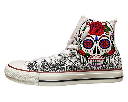 """Converse All Star personalizzate con stampa """"Skull&Roses"""""""