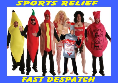 Mens Novelty Fun Stag Party Fancy Dress Costume One Size Sport Relief Charity