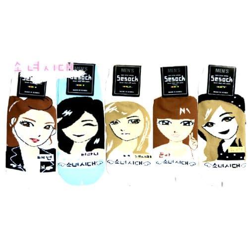 SNSD Girls Generation Kpop Socks 5 Pairs Featuring Taeyeon, Tiffany, Jessica, Yoohna & Yuri (Large)
