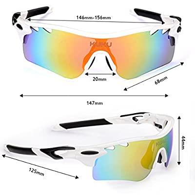 FiveBox Polarized U.V Protection Sports Glasses ,Cycling Wrap Sunglasses with 5 Interchangeable Lenses Unbreakable for Riding Driving Fishing Running Golf And All Outdoor Activities With Retail Package.
