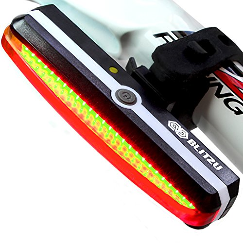 Ultra Bright Bike Light Blitzu Cyborg 168T USB Rechargeable Bicycle Tail Light. Red High Intensity Rear LED Accessories Fits On Any Road Bikes, Helmets. Easy To Install for Cycling Safety Flashlight (Light Bike Led compare prices)
