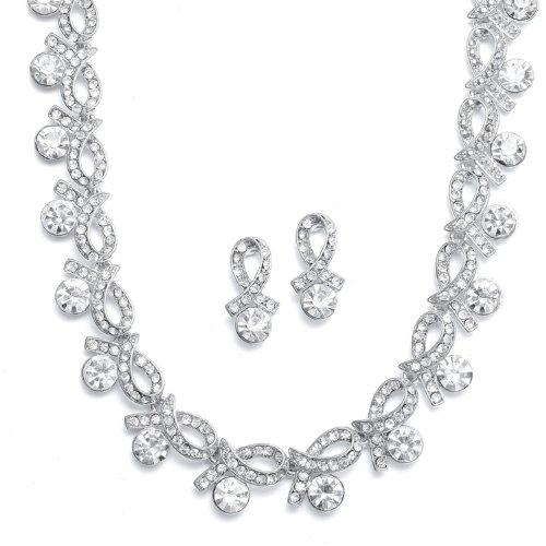 Mariell ~ Crystal Ribbons Wedding Necklace Set