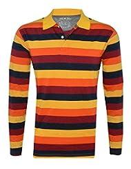 Tee Talkies Authentic Striped Polo Full Sleeve T Shirts - Orange Yellow