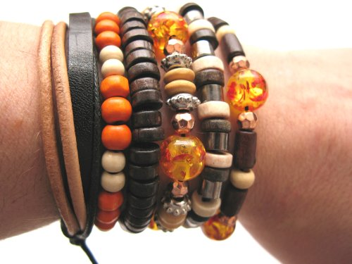 Mens or Womens unisex urban surfer Black leather multi colour bead bracelet