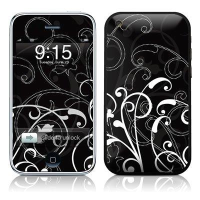 Apple iPhone 3G und 3Gs Skin Gehäuse Sticker Design Schutzfolie + Wallpaper - B&W Fleur