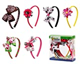 Bundle Monster 6pc Cute Handmade Grosgrain Ribbon Bows Toddler Girl Hair Headbands, SET A - Assorted Mix Lot Set