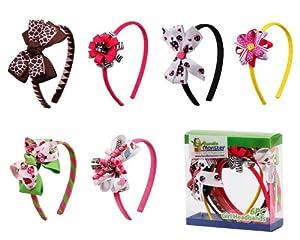 Bundle Monster 6pc Cute Handmade Grosgrain Ribbon Bows Girl Hair Headbands, SET A - Assorted Mix Lot Set