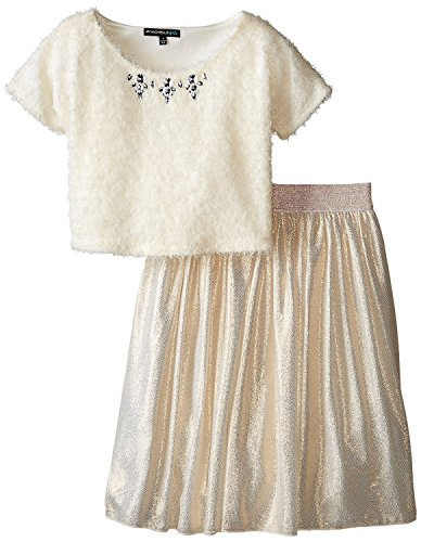 My Michelle Big Girls' 2 Piece Set with Eyelash Top with Jewel Neckline, Ivory/Gold, 7