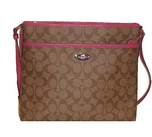 Coach Signature Coated Canvas File Bag in Khaki & Sunset Red