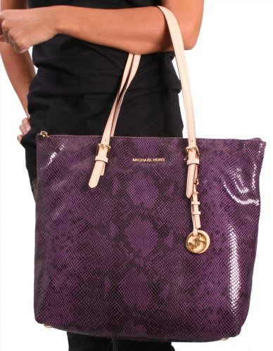 Michael Kors Jet Set Women's Python Leather Zip Tote Handbag