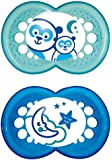 MAM 111211 Night Silicone Pack of 2 Soothers for Boys Age 6 - 16 Months Assorted Colours BPA Free