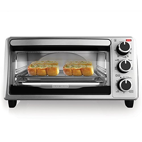 BLACK+DECKER TO1303SB 4-Slice Toaster Oven, Stainless Steel/Black (Small Microwave Oven Stainless compare prices)