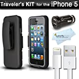 New iPhone 5 Travelers Kit Includes Photive iPhone 5 Defender Holster Case. Shock Absorbing Dual Layer Hard Shell Case - Designed for iPhone 5 + 8 Pin lightning To USB Cable - Data / Sync Charging Cable + High Speed Car Charger + Bonus MicroFiber Cloth