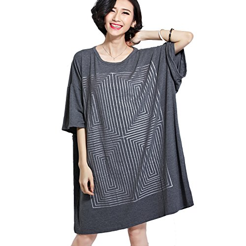CS&JM Women's Plus Size Maze Fashion Loose T Shirt Dress Casual Tops