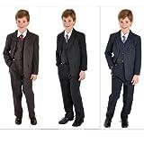 5 teiliger Kinderanzug Kommunionsanzug mit Nadelstreifen viele Größen blau und schwarz, Grösse Bekleidung:122/128;Farbe:Blau