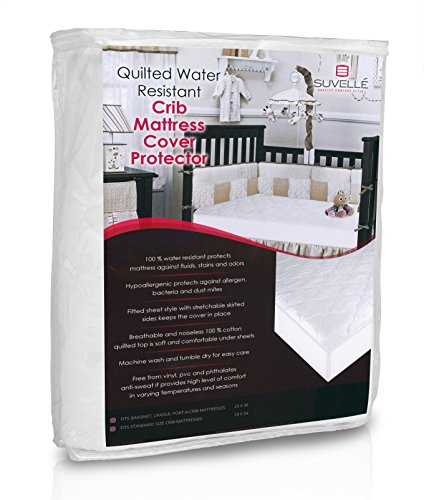 Suvelle Water Resistant Mattress Pad Cover Fitted Baby Crib and Toddler Protector
