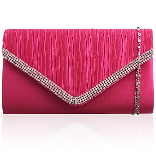 Accessorize-me Satin Envelope clutch Bag with diamante Detail clutch Bag Handbag & Shoulder Chain A41073-2