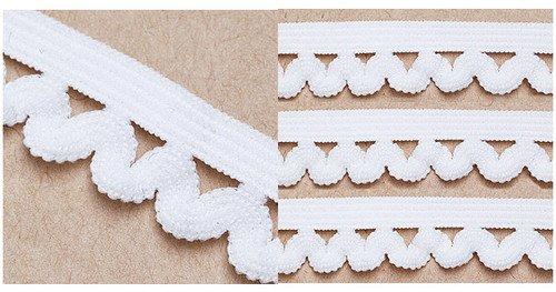 10yard White Curved Spandex Elastic Trim Lace 0.5''inch(1.3cm) I0180