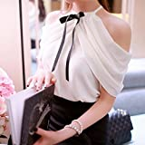 Naomi Elegant Womens Off Shoulder Halter Neck Bowknot Slim Chiffon Blouse Tops Shirt White L
