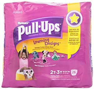 Huggies Pull-Ups Training Pants for Girls with Learning Designs, Jumbo Pack, Size 2 2T-3T 26 ea