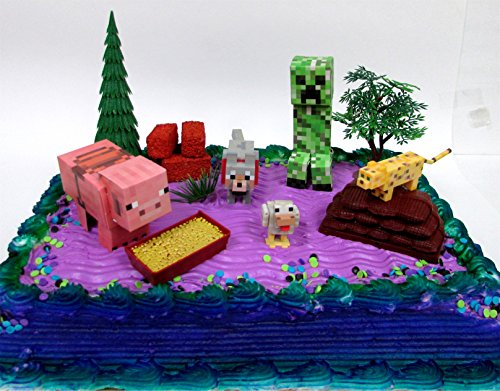 12-Piece-MINECRAFT-Themed-Birthday-Cake-Topper-Set-Featuring-Minecraft-Characters-and-Decorative-Themed-Accessories