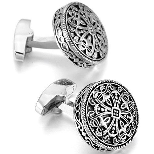 Silver Black 2 PCS Rhodium Plated Cufflinks Celtic Cross Shirt Wedding Business