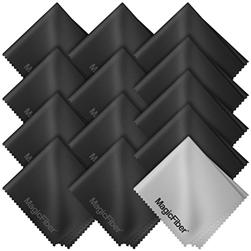(13 Pack) Magicfiber Premium Microfiber Cleaning Cloths - For Tablet, Cell Phone, Laptop, Lcd Tv Screens And Any Other Delicate Surface (12 Black, 1 Grey)