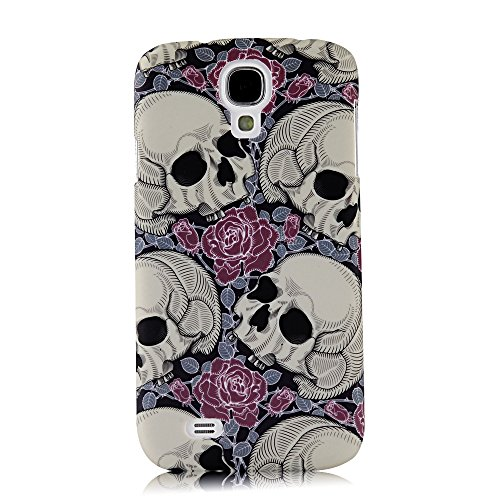 S4 Case, Galaxy S4 Case - Mollycoocle Fashion Style Colorful Painted Pattern Pc Hard Cover Case For Samsung Galaxy S4 I9500 I9505 Sph-L720 Sgh-I337 Sch-I545 Sgh-M919 Sch-R970 Samsung Galaxy S4 Lte-A(Skull With Flowers)