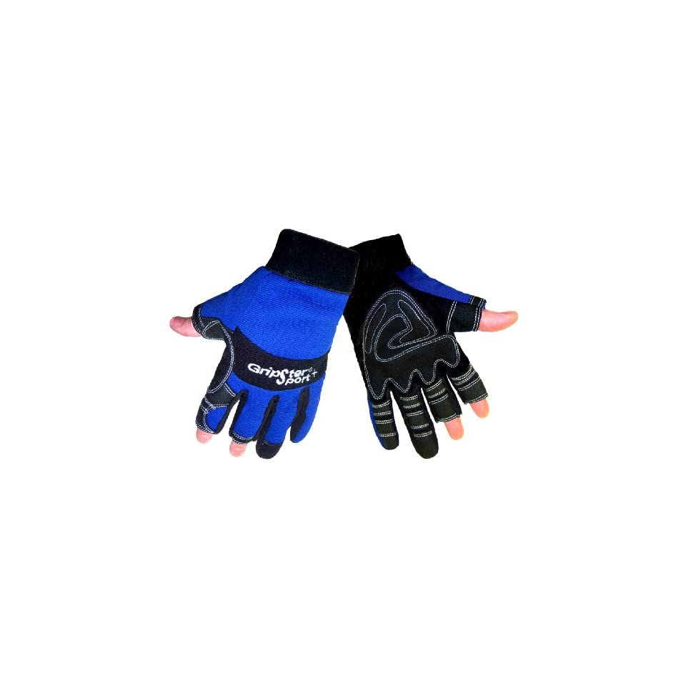 Global Glove SG9001NF Aireflex Leather Gripster Sport Plus Fingerless Glove with Blue Spandex Backing, Work, Extra Large (Case of 48)