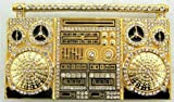 Gold Boombox Rhinestone Belt Buckle Ghetto Blaster