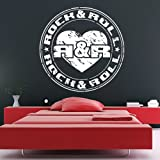 Rock And Roll Badge Wall Sticker Music Wall Decal Art available in 5 Sizes and 25 Colours Medium Rose Pink