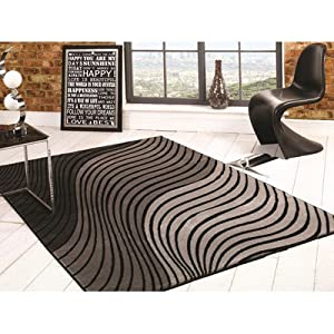 Flair Rugs Sincerity Modern Ripple Rug, Grey/Black, 80 x 150 Cm from Flair Rugs