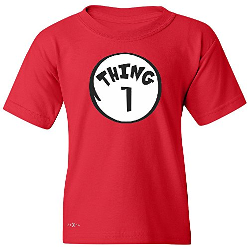 [Thing 1 Unisex Youth T-shirt Funny Halloween Costume Xmas Humor Tee Red Medium] (Thing 1 Thing 2 Halloween Costumes)