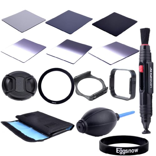 Eggsnow Dslr Camera Accessory Kit - Graduated Nd2 Nd4 Nd8 + Full Nd2 Nd4 Nd8 + 6 Pockect Fliter Bag + 72Mm Center Pinch Lens Cap + Air Blower Cleaner Blaster + 72Mm Adapter Ring + Lens Hood + Filter Holder + Lens Clearing Pen (72Mm)