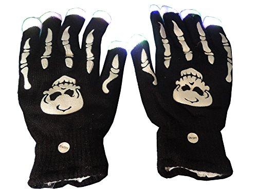 Flashing Blinking Light Up Finger Tips Led Skull Skeleton Hand Knitted Gloves