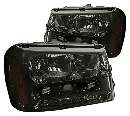 DNA Motoring HL-OH-TRA02-SM-AM Headlight Assembly, Driver and Passenger Side (2006 Trailblazer Cargo Cover compare prices)