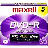 DVD+R Discs, 4.7GB, 16x, w/Jewel Cases, Silver, 5/Pack