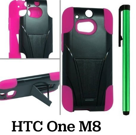 Htc One M8 Premium Pretty T-Stand Design Protector Hard Cover Case (2014 Q1 Released; Carrier: Verizon, At&T, T-Mobile, Sprint) + 1 Of New Assorted Color Metal Stylus Touch Screen Pen (Pink / Black)