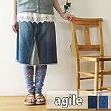 (アジル) agile ダメージ リメイク Aライン デニム スカート744185